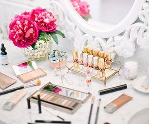 candle, lipstick, and make up image