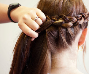 braid, brunette, and hair image
