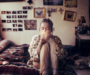 girl, vintage, and cigarette image