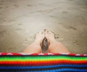 beach, foot, and summer image