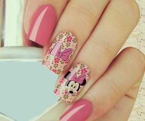 girly, minnie mouse, and nails image