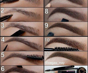 brown, eyebrows, and makeup image