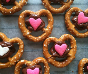 chocolate, heart, and pretzel image