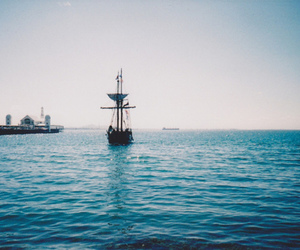 ship, boat, and ocean image
