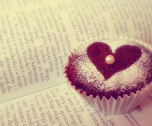cupcake, book, and heart image