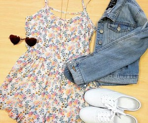 beach, clothes, and floral image
