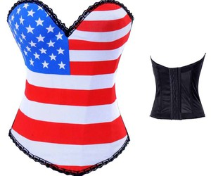 corset overbust wholesale, corset overbust cheap, and flag corset overbust image