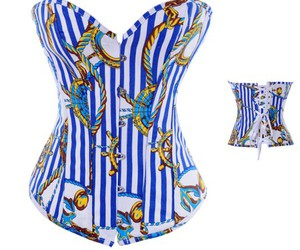 cheap corset, corset wholesale, and blue and white corset image