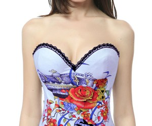 white corset, cheap overbust corset, and overbust corset wholesale image