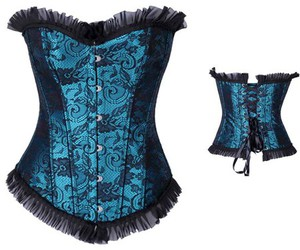wholesale corset, blue overbust corset, and cheap corset overbust image