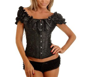 black overbust corset, overbust corset wholesale, and cheap overbust corset image