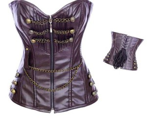 leather corset, brown corset, and cheap overbust lingerie image