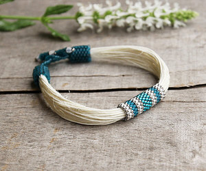 summer jewelry, teal bracelet, and natural fashion image