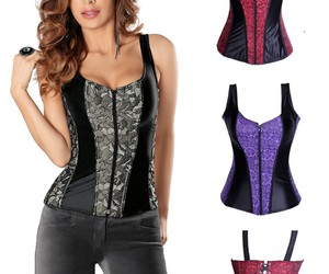 cheap corset, overbust corset wholesale, and grey overbust corset image