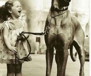 dog, black and white, and child image