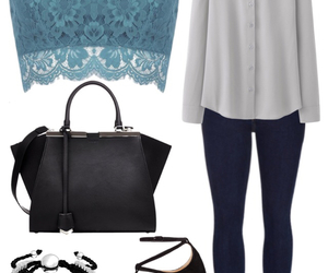 bag, blouse, and Braclets image