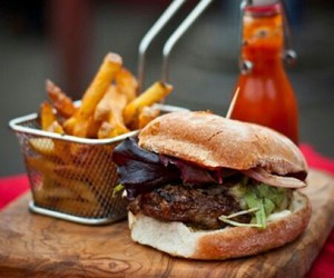 burger, fries, and food image