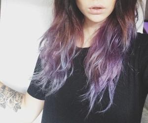 hair, purple, and black image