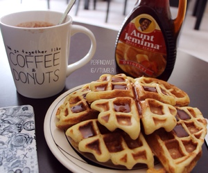 waffles, food, and coffee image