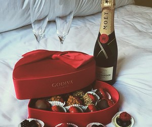 chocolate, champagne, and romantic image