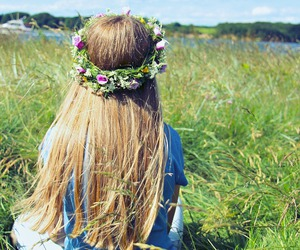 blue, flower crown, and flowers image