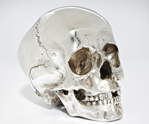 skull, silver, and art image