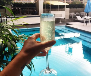 champagne, swimming pool, and summer image