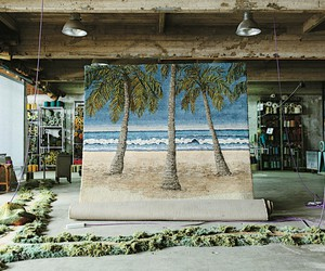 palm trees, art, and beach image