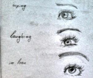 drawing, draws, and eyes image