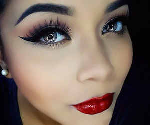 eyebrows, make up, and red lips image