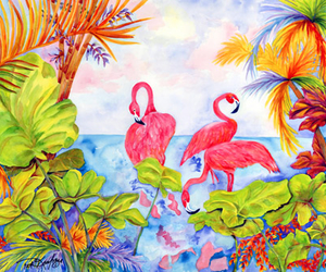 background, colours, and flamingos image