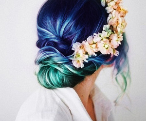 blue, colored hair, and green image