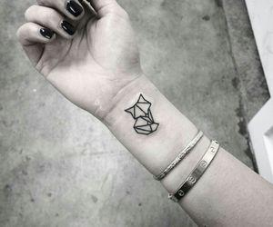 tattoo, fox, and black image