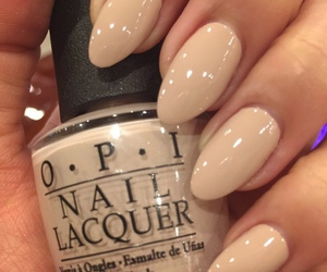 nails, beige, and nail polish image