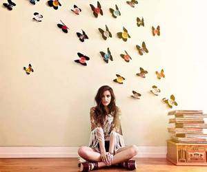 beautiful, butterfly, and girl image