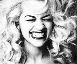 rita ora, smile, and black and white image