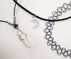 moon, grunge, and necklace image