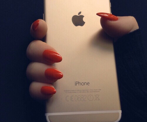 nails, iphone, and red image