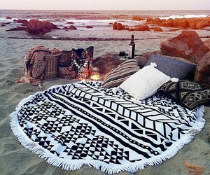 beach, date, and pillow image