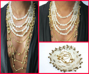 choker, gold necklace, and plunging neckline image