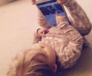 baby, girl, and phone image