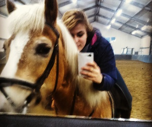 brunette, highlights, and horseriding image
