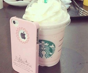 iphone, pink, and starbucks image
