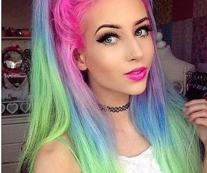 hair, pink, and rainbow image