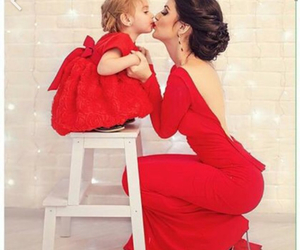 red, dress, and kiss image