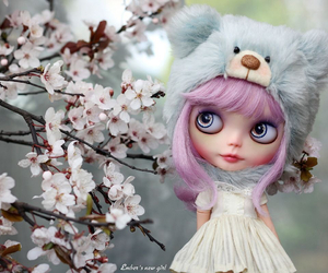bear, cherry blossom, and flowers image