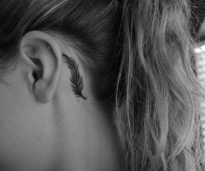 tattoo, feather, and black and white image