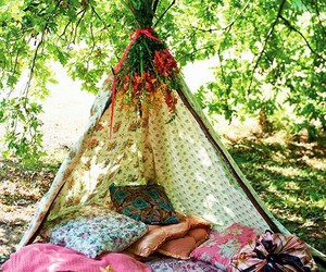 bohemian, summer, and tent image
