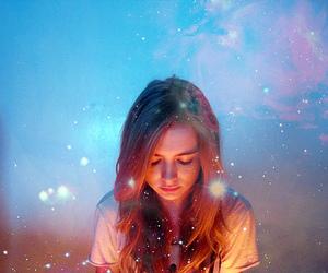 girl, light, and stars image