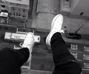 black and white, grunge, and converse image